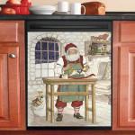 Workshop Santa Claus Dishwasher Cover Sticker Kitchen Decor