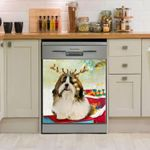Shih Tzu Strobe Lights Xmas Pattern Dishwasher Cover Sticker Kitchen Decor