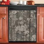 Flowers On Dark Wood Pattern Dishwasher Cover Sticker Kitchen Decor