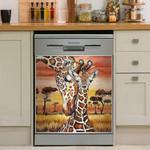 Giraffe Mom And Kid In Meadow Dishwasher Cover Sticker Kitchen Decor