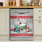 Winter Cardinal Our Life Our Story Our Home Dishwasher Cover Sticker Kitchen Decor