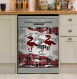 Flamingo Red Tartan Snowflake For Flamingo Lover Dishwasher Cover Sticker Kitchen Decor