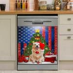 Golden Retriever Santa Merry Christmas American Flag Dishwasher Cover Sticker Kitchen Decor