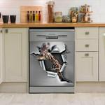 Giraffe Broken Paper Dishwasher Cover Sticker Kitchen Decor