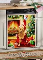 Golden Retriever Santa Gifts Pattern Dishwasher Cover Sticker Kitchen Decor