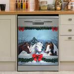 Horses Christmas Snow Dishwasher Cover Sticker Kitchen Decor
