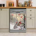 Irish Wolfhound Date Day Pattern Dishwasher Cover Sticker Kitchen Decor