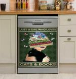 Librarian Just A Girl Loves Books And Dogs Dishwasher Cover Sticker Kitchen Decor