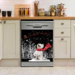 West Highland White Terrier Snow Pattern Dishwasher Cover Sticker Kitchen Decor