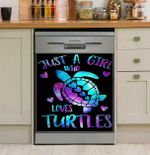 Just A Girl Who Loves Turtles Dishwasher Cover Sticker Kitchen Decor