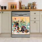 French Bulldog Picnic Together Pattern Dishwasher Cover Sticker Kitchen Decor
