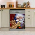 Golden Retriever Santa Pattern Dishwasher Cover Sticker Kitchen Decor