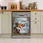 Home Is Where My Cow Dishwasher Cover Sticker Kitchen Decor