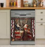 Hunting Deer Usa Flag Dishwasher Cover Sticker Kitchen Decor