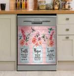 Faith Hope Love Pink Design Dishwasher Cover Sticker Kitchen Decor