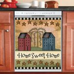 Home Sweet Home Saltbox Houses Dishwasher Cover Sticker Kitchen Decor