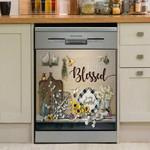 Hummingbird And Floral Vintage Dishwasher Cover Sticker Kitchen Decor