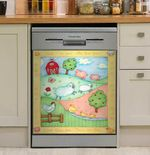 Happy Farm Animal Dishwasher Cover Sticker Kitchen Decor