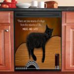 Two Means Of Refuge Black Cat Dishwasher Cover Sticker Kitchen Decor