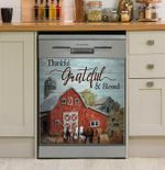 Thankful Grateful And Blessed Cow Dishwasher Cover Sticker Kitchen Decor