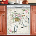 Vintage Bicycle With Flowers Dishwasher Cover Sticker Kitchen Decor