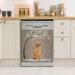Golden Retriever Winter Pattern Dishwasher Cover Sticker Kitchen Decor