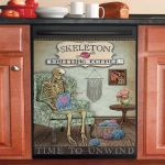 Knitting Corner Skeleton Dishwasher Cover Sticker Kitchen Decor