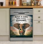 Just A Girl Who Loves Elephants Dishwasher Cover Sticker Kitchen Decor