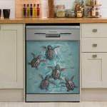 Turtle Ocean Swimming Art Dishwasher Cover Sticker Kitchen Decor