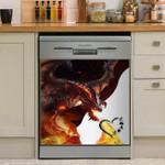 Fire Dragon Heart Dishwasher Cover Sticker Kitchen Decor