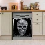 Skull Big In Hole Pattern Dishwasher Cover Sticker Kitchen Decor