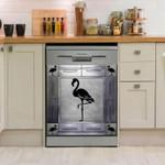 Flamingo Corners Metal Pattern Dishwasher Cover Sticker Kitchen Decor