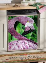 Flamingo Pink Green Leaves Pattern Dishwasher Cover Sticker Kitchen Decor