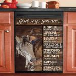God Says You Are Unique Lovely Chosen Cowgirl Dishwasher Cover Sticker Kitchen Decor