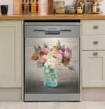 French Cottage Bouquet Dishwasher Cover Sticker Kitchen Decor