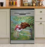 Just A Little Girl Who Loves Horses Dishwasher Cover Sticker Kitchen Decor