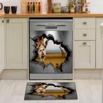 Giraffe Broken Wall Dishwasher Cover Sticker Kitchen Decor