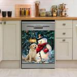 Golsen Retriever Snowman Pattern Dishwasher Cover Sticker Kitchen Decor