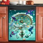 Hummingbird Gorgeous Diamond Dishwasher Cover Sticker Kitchen Decor