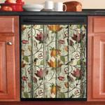 Flower Bird Pattern Tropical Dishwasher Cover Sticker Kitchen Decor
