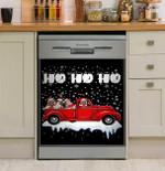 Ho Ho Ho Pug Christmas Red Car Snowy Night Dishwasher Cover Sticker Kitchen Decor