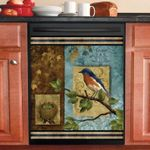 Blue Bird Farm Oil Painting Dishwasher Cover Sticker Kitchen Decor