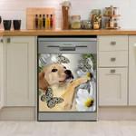 Labrador Retriever Daisy And Butterfly Dishwasher Cover Sticker Kitchen Decor