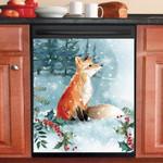 Fox In Snow Pattern Dishwasher Cover Sticker Kitchen Decor