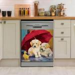 Golden Retriever And Duck Pattern Dishwasher Cover Sticker Kitchen Decor