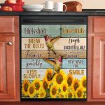Hummingbird Sunflower Life Is Short Break The Rules Dishwasher Cover Sticker Kitchen Decor