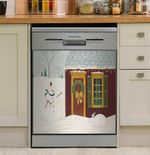 House With Snowman Dishwasher Cover Sticker Kitchen Decor