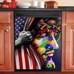 God Is With America Dishwasher Cover Sticker Kitchen Decor