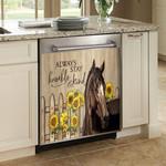 Horse Sunflower Dishwasher Cover Sticker Kitchen Decor