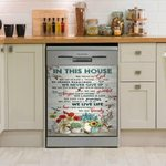Hummingbird In This House We Never Give Up Dishwasher Cover Sticker Kitchen Decor